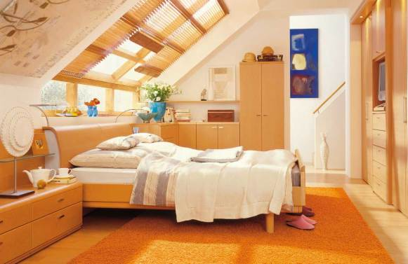Bright-and-Cozy-Bedroom-with-Sloping-Roof-Design